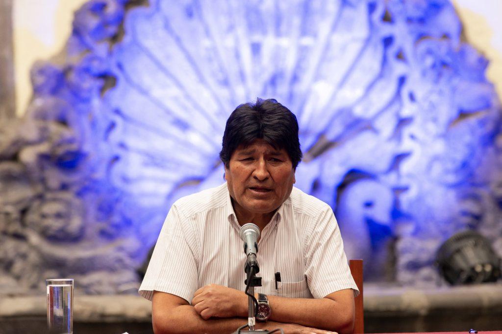 Evo Morales durante una conferencia de prensa en México