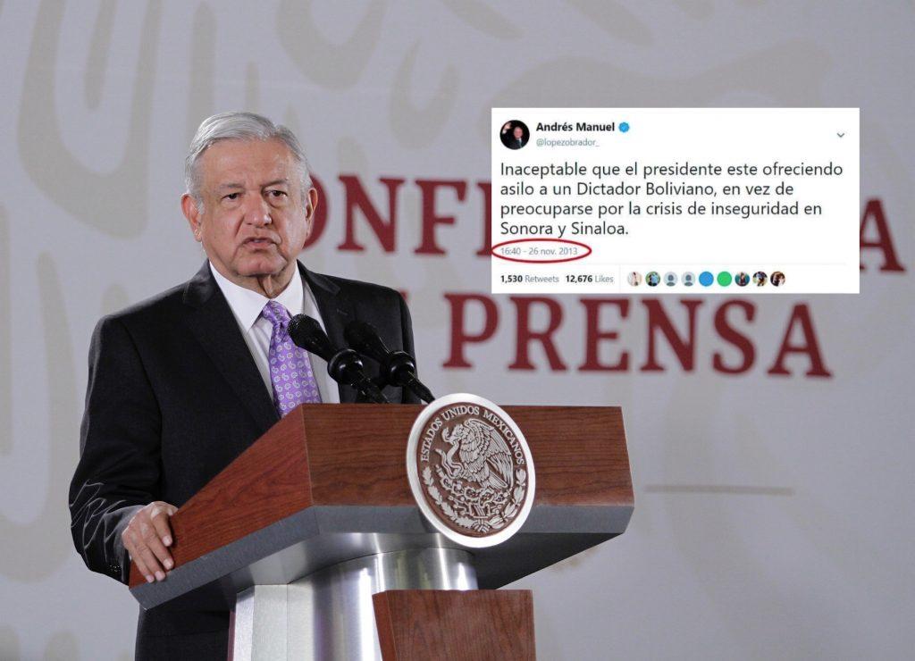 """AMLO publicó un supuesto tuit donde criticaba a Enrique Peña Nieto por darle asilo a un """"dictador boliviano""""."""
