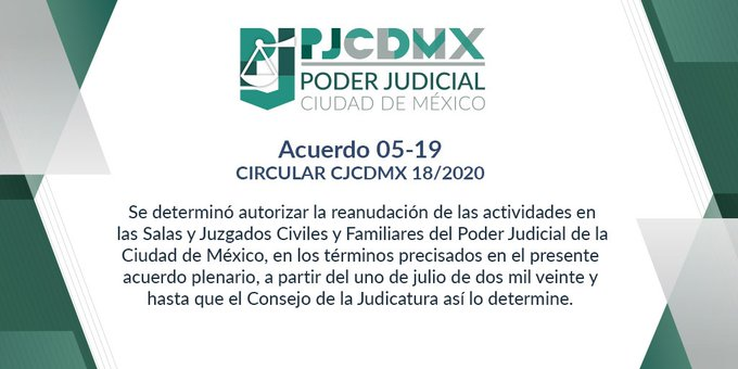 CJCDMX emite disposiciones para reanudación de labores en el PJCDMX el 1º de julio