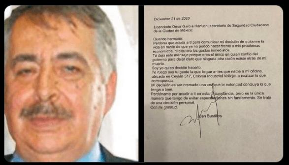Periodista Juan Bustillos se suicidó y dejó nota a Omar García Harfuch
