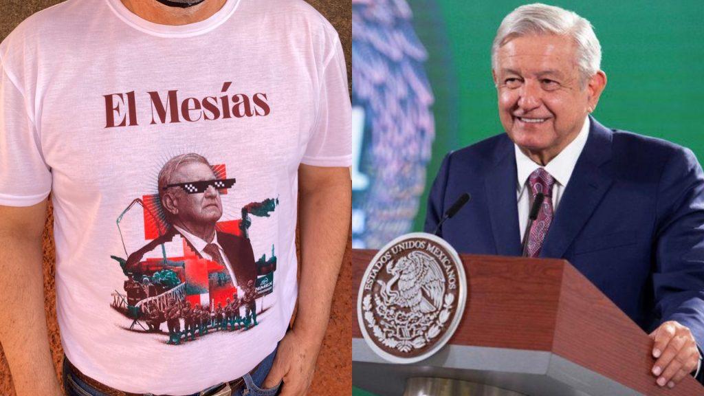 """Vi camisetas de """"falso mesías"""": AMLO"""