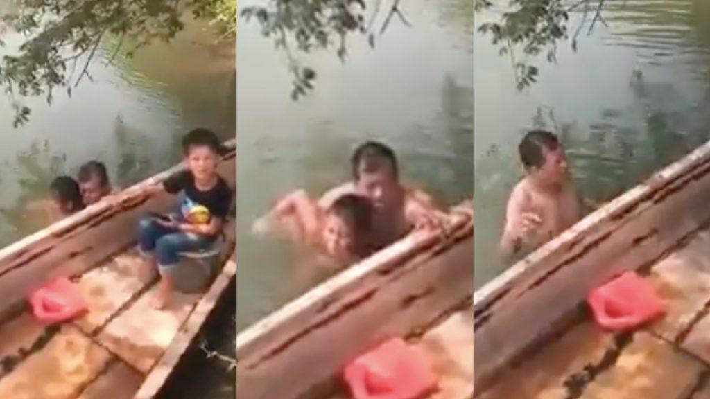 En Tabasco, exhiben a sujeto que se bañaba desnudo con niña en un río (Video)