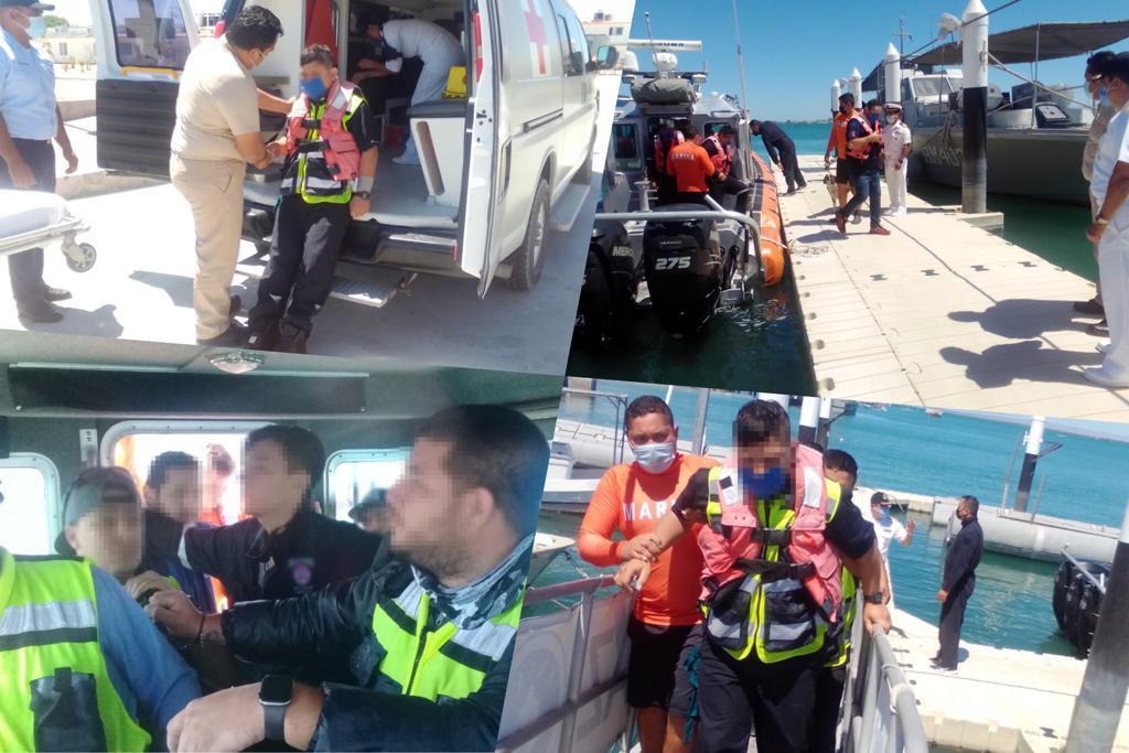 """SEMAR rescató a 10 personas en """"Punta Colorada"""", Baja California Sur"""