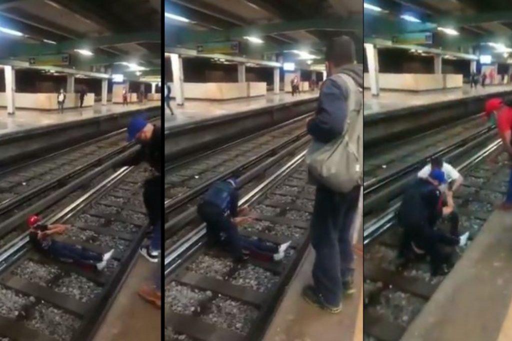 Joven en posible estado de ebriedad cae a las vías del Metro Foto: Internet