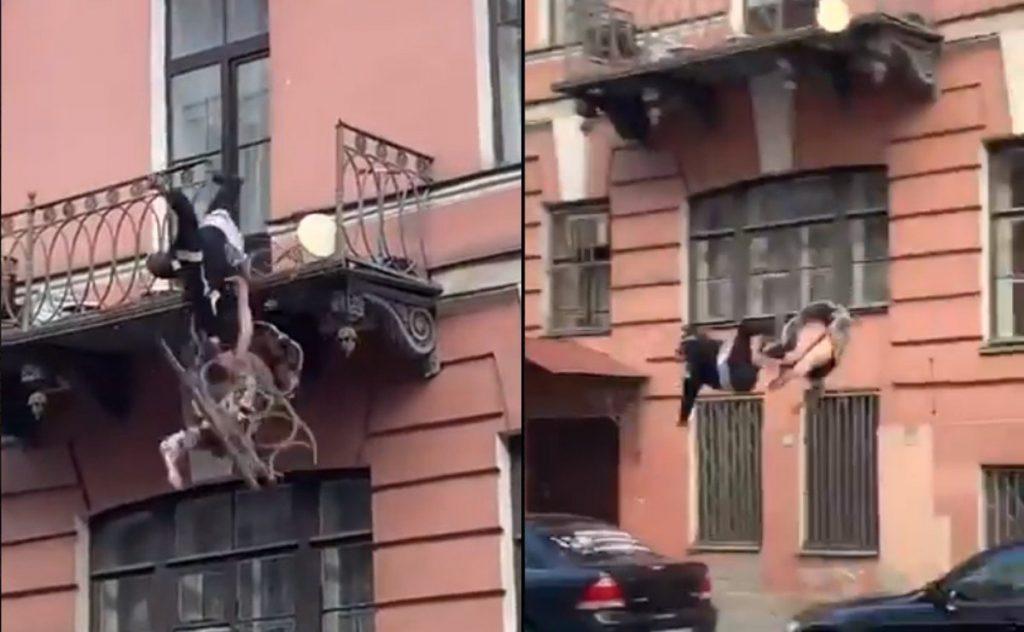 VIDEO I Pareja cae de un balcón mientras tenía una pelea Foto: Internet