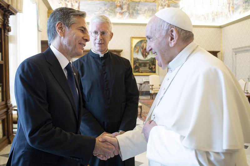 Papa expresa afecto a estadounidenses en reunión con Blinken Foto: AP