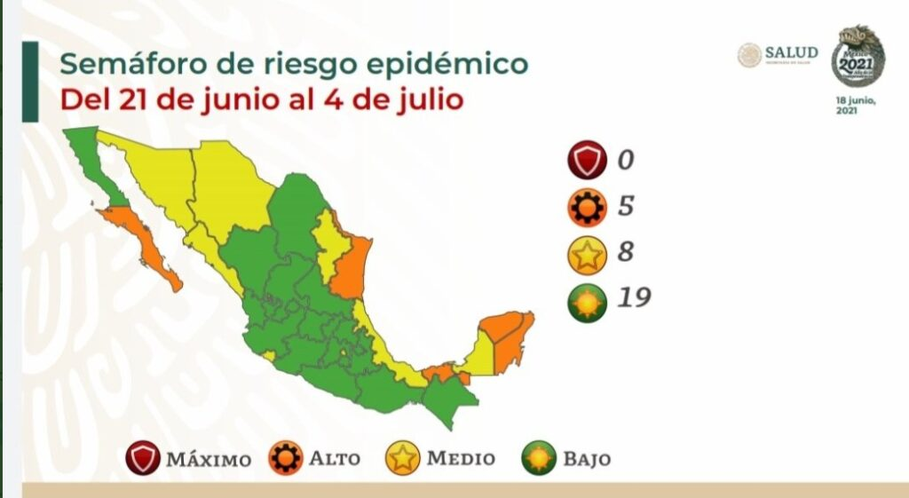 Regresa CDMX a semáforo amarillo; cinco estados en alto riesgo por covid Foto: Salud