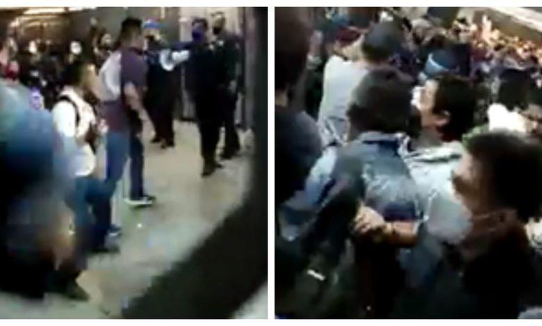 Se arma pelea campal en Metro Línea A, estación Pantitlán Foto: Internet