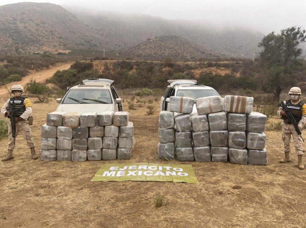 SEDENA aseguró más de 800 kilos de narcóticos con valor superior a 119 mdp; en Ensenada, Baja California