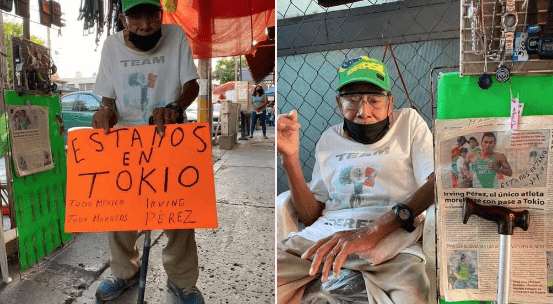 Desde su puesto ambulante, abuelo apoya a su nieto en los Juegos Olímpicos