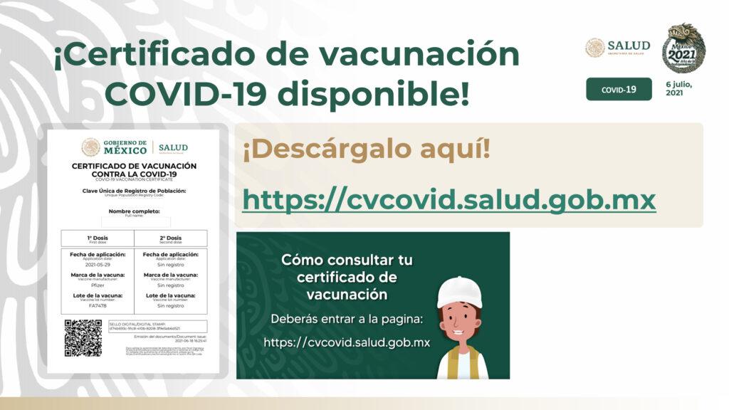 México emitirá certificado de vacunación anti-covid