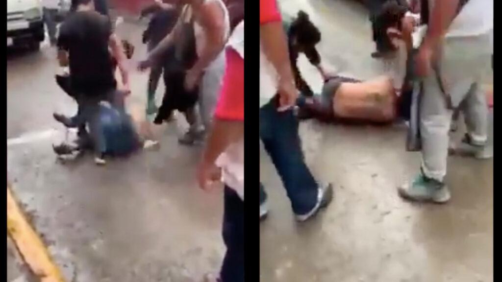 Por amedrentar a una mujer en una combi, asaltante es golpeado hasta llorar