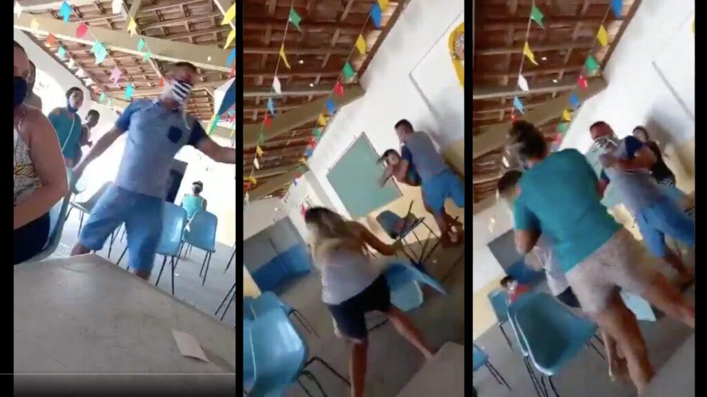 Hombre va con amante a vacunarse, esposa lo cacha (Video)