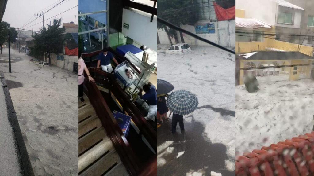 Fuerte lluvia con granizo en Edomex deja ríos, un hospital evacuado y un muerto (Video)