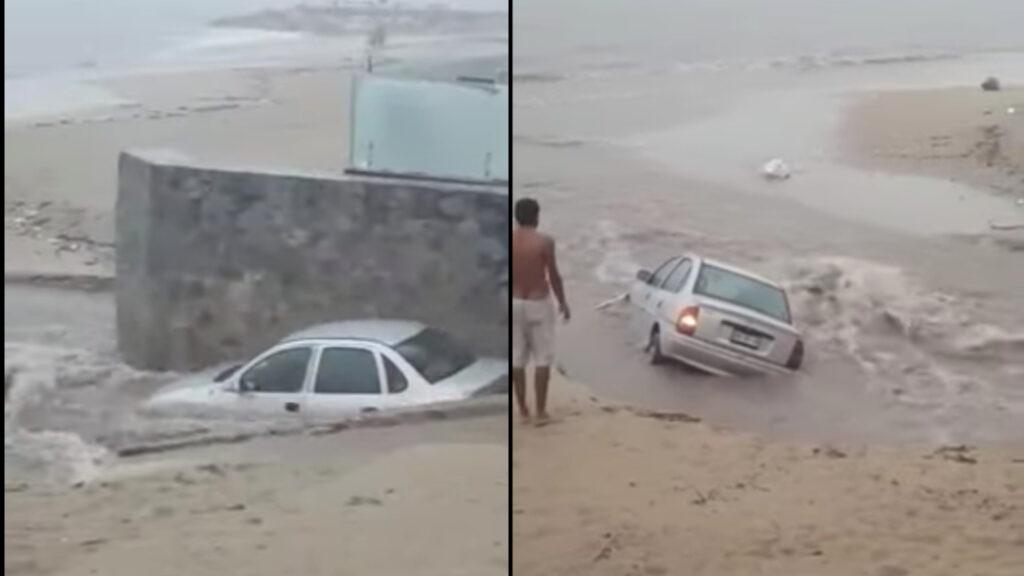 Fuertes lluvias arrastran coche al mar en Puerto Vallarta