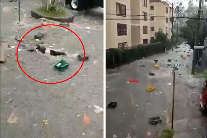 VIDEO I Mujer es arrastrada por la corriente de lluvia en Tlalnepantla Foto: Internet