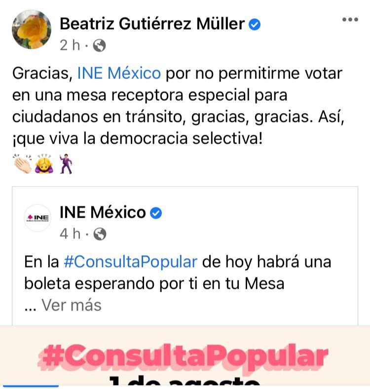 Gutiérrez Müller critica falta de casillas