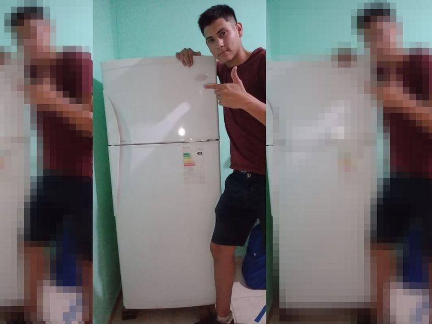 Joven celebra que por fin pudo comprar un refrigerador Foto: Internet