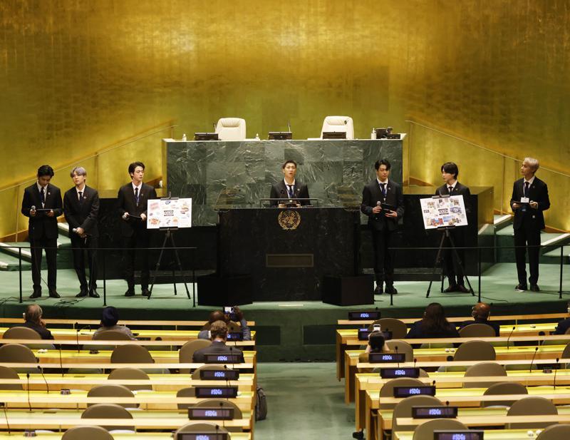 Con la ayuda de BTS, la ONU busca conectarse con la juventud Foto: AP