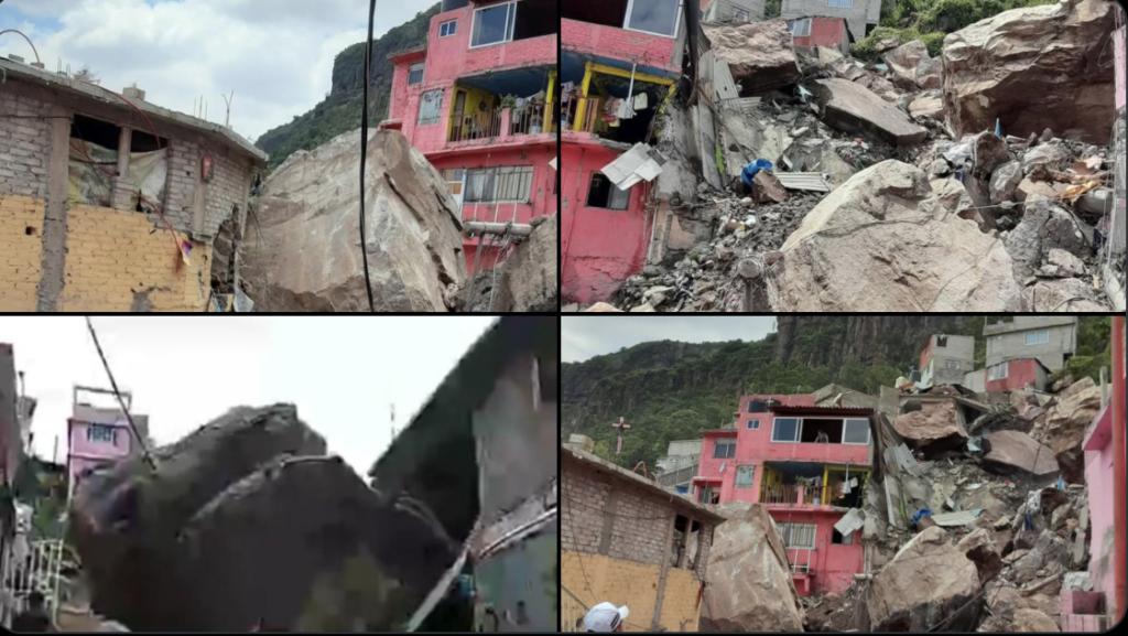 Una persona fallecida, una más lesionada, 6 personas adultas y 4 niños desaparecidos tras derrumbe en Cerro del Chiquihuite Foto: Especial