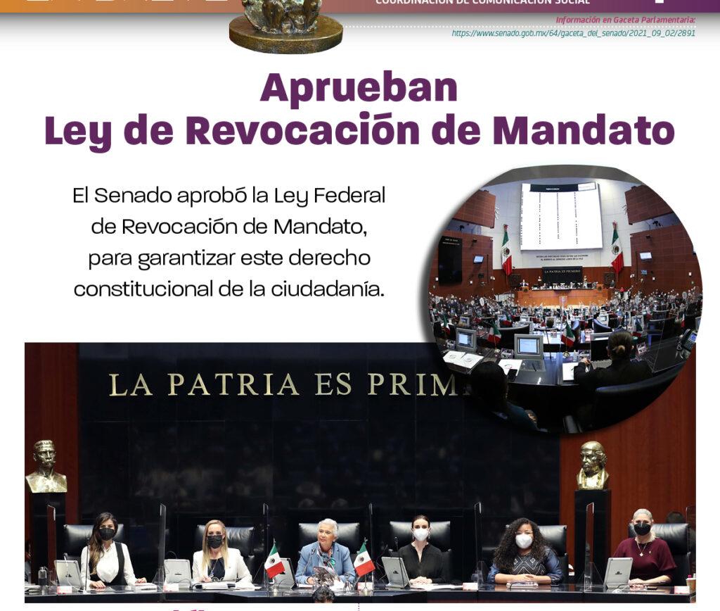 Senadores logran consenso y aprueban Ley Reglamentaria de Revocación de Mandato