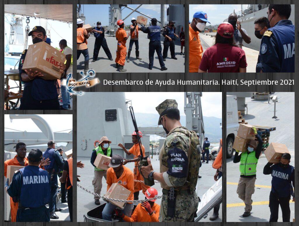 Ayuda humanitaria para Haití, es desembarcada de buques de la Semar