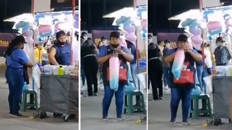 En pleno Covid, vendedora de algodón de azúcar infla con boca bolsa (Video)