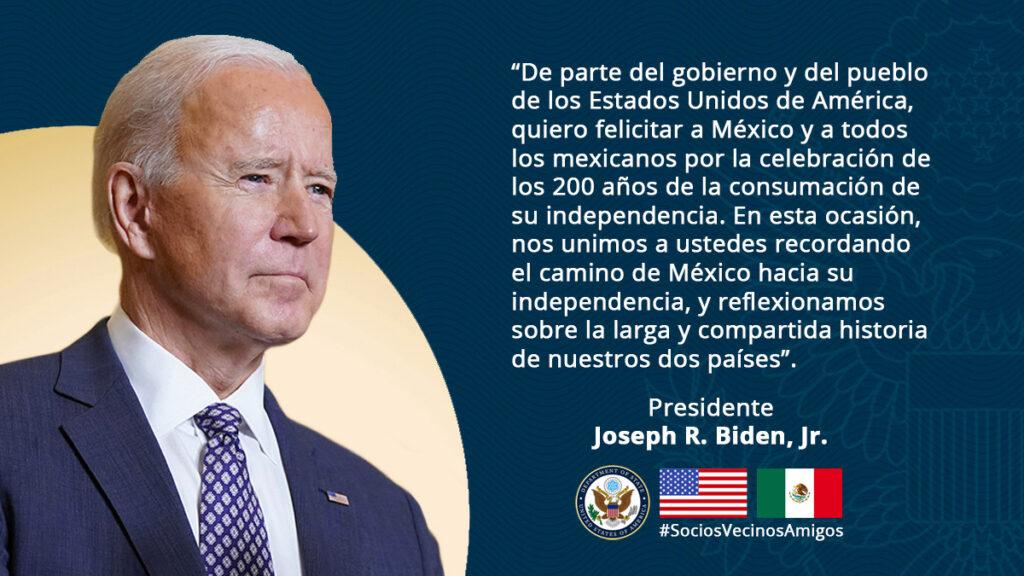 Mensaje del presidente Joe Biden con motivo de la Independencia de México Foto: @USEmbassyMEX