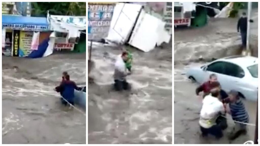 En inundación rescatan a bebé en Ecatepec