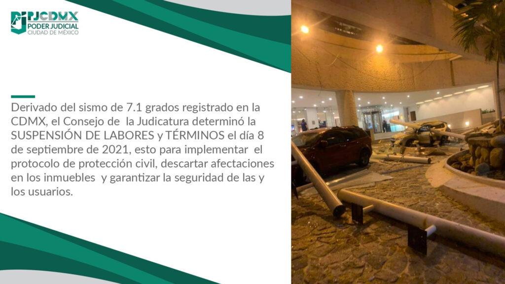 Tras sismo, Consejo de Judicatura CDMX declaró no laborable este miércoles