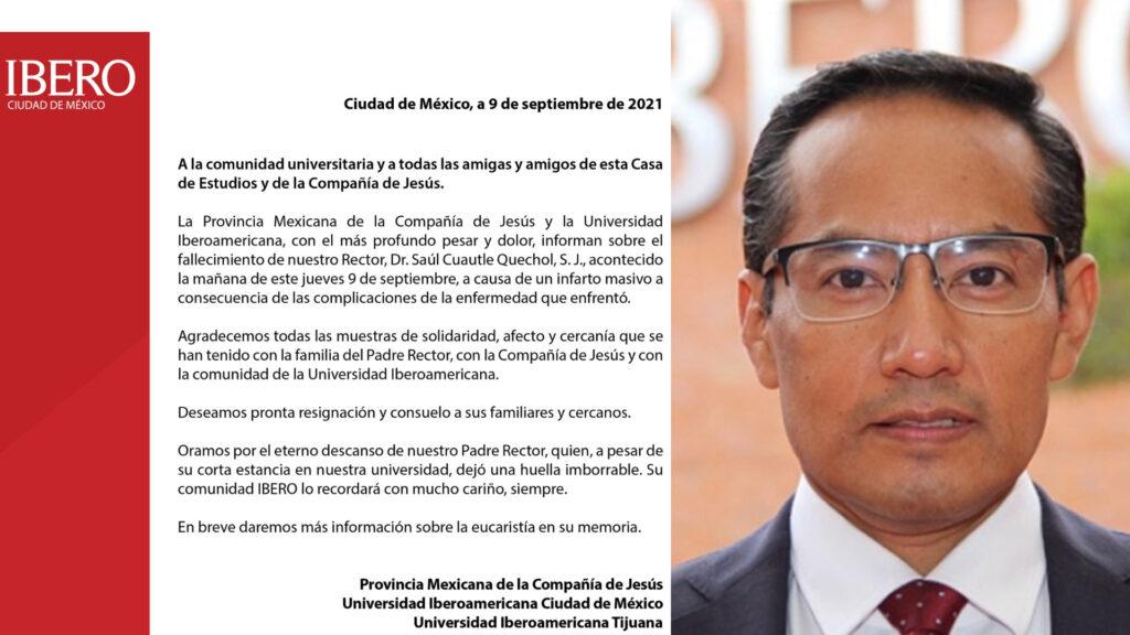 Por Covid, muere rector de Ibero CDMX Dr. Saúl Cuautle Quechol