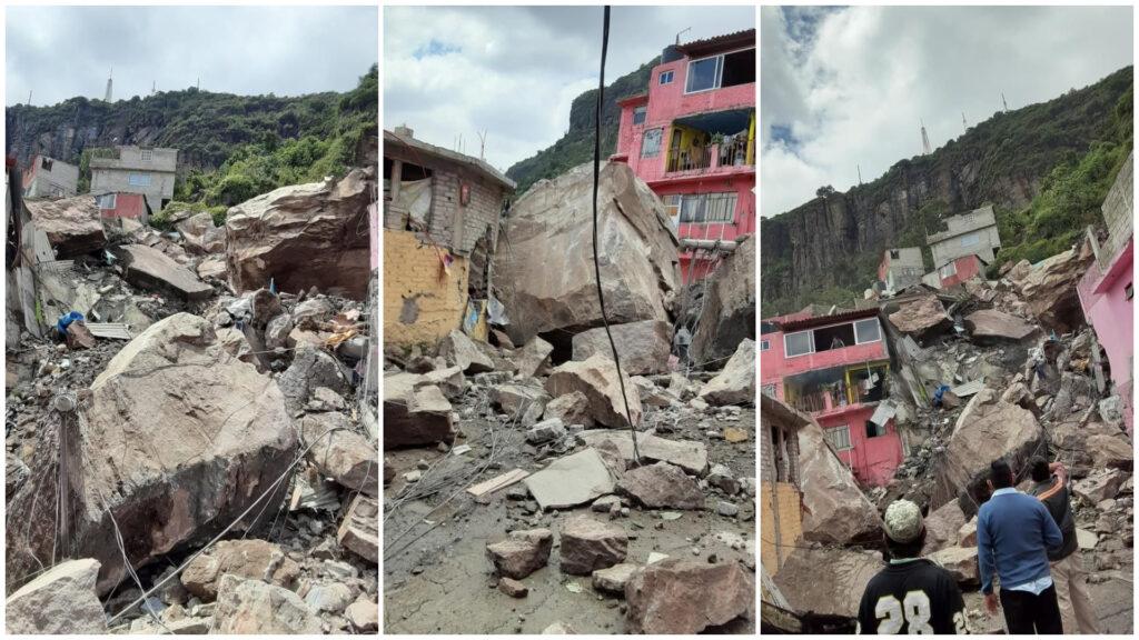 Cerro del Chiquihuite se deslava sobre casas en Tlalnepantla