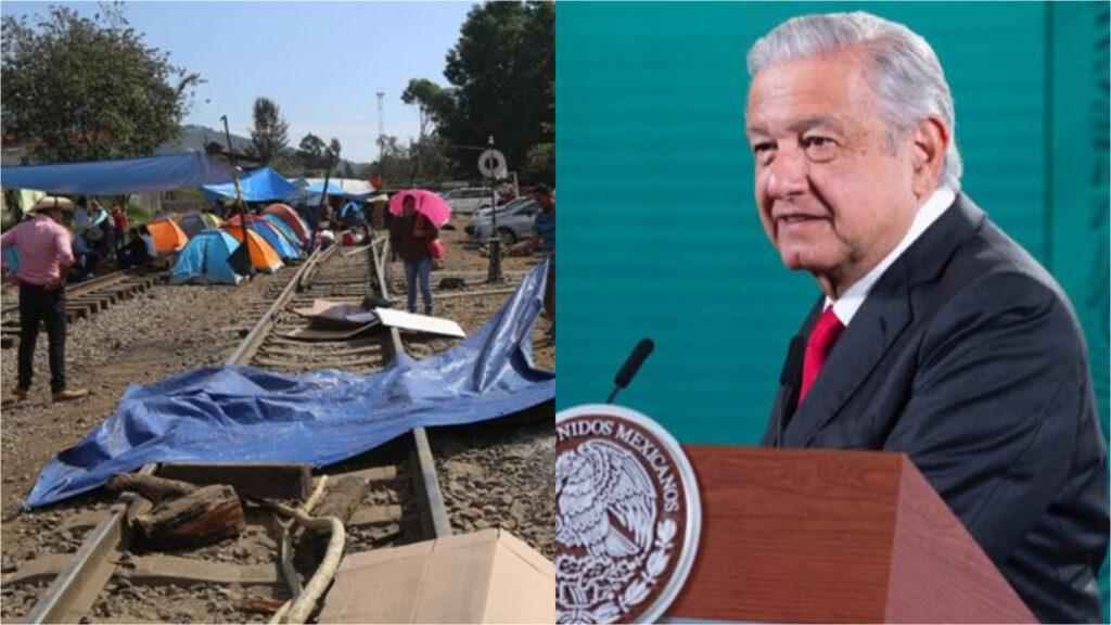 AMLO llama a levantar bloqueo en vías del tren en Michoacán