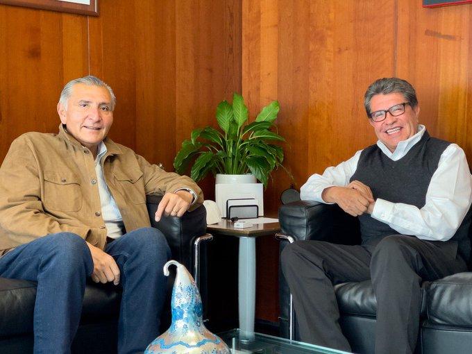 Recibe Ricardo Monreal al secretario de Gobernación Adán Augusto López