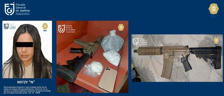 Juez vinculó a proceso a Mitzi de 26 años, por posesión de armas y narcotráfico **FOTOS FGJ-CDMX**