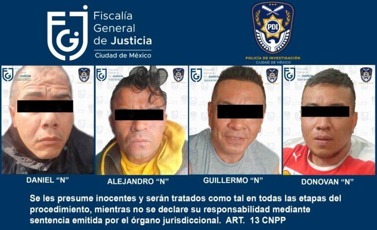"""FGJ-CDMX detuvo en flagrancia a cuatro integrantes del grupo delictivo """"La Unión Tepito"""" *FOTOS & VIDEO FGJ-CDMX**"""