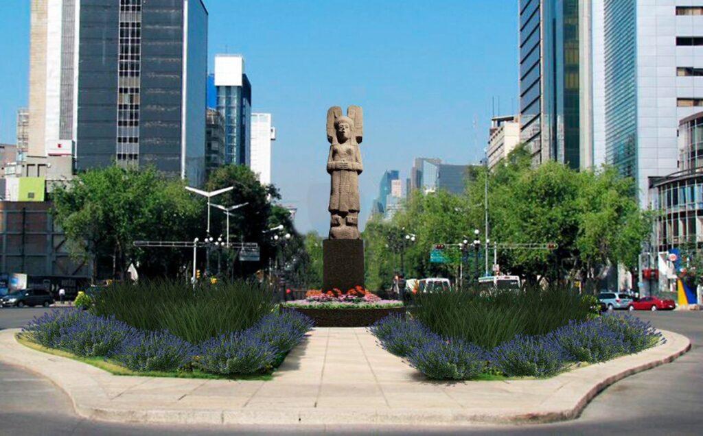 """Mujer indígena """"La joven de Amajac"""" llega a glorieta donde estaba Colón"""