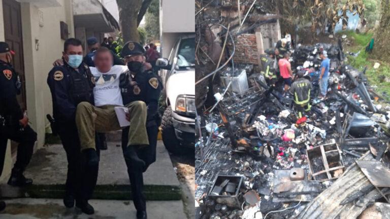 Policías CDMX rescataron a dos menores y a su abuelo en vivienda incendiada en Álvaro Obregón