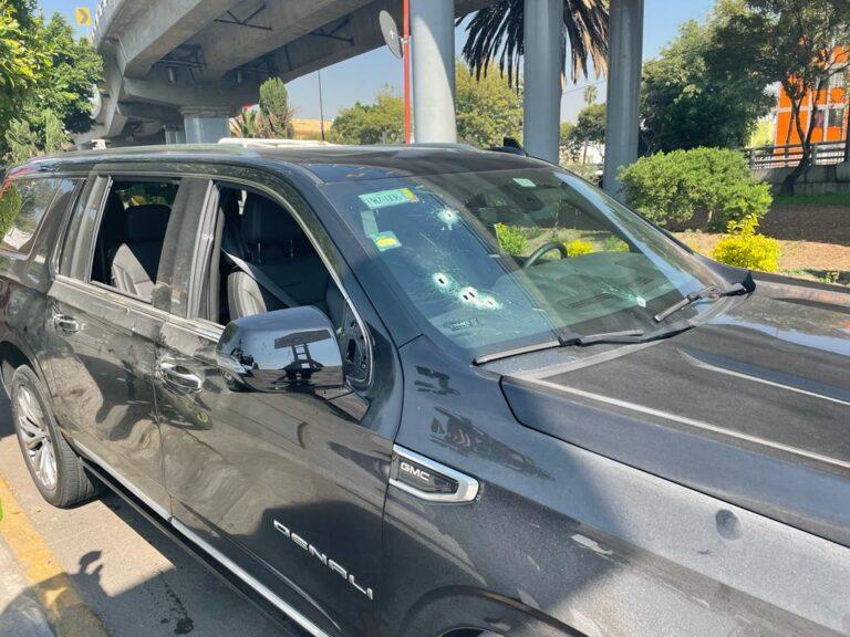 FGJ-CDMX investiga la agresión con arma de fuego a una camioneta en el AICM Foto: Especial