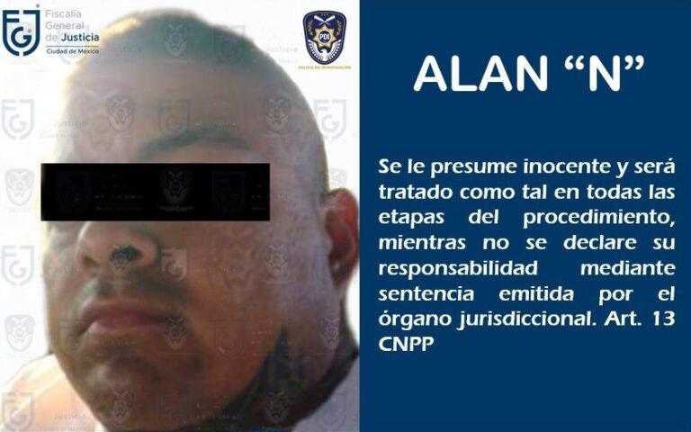 """FGJ-CDMX detuvo en Zumpango, Estado de México a Alán """"N"""" presunto secuestrador **FOTOS FGJ-CDMX**"""