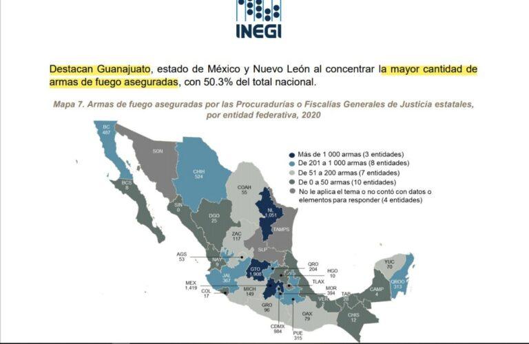 Estado de México, Guanajuato y Nuevo León son las entidades donde se han asegurado más armas de fuego *FOTO INEGI*