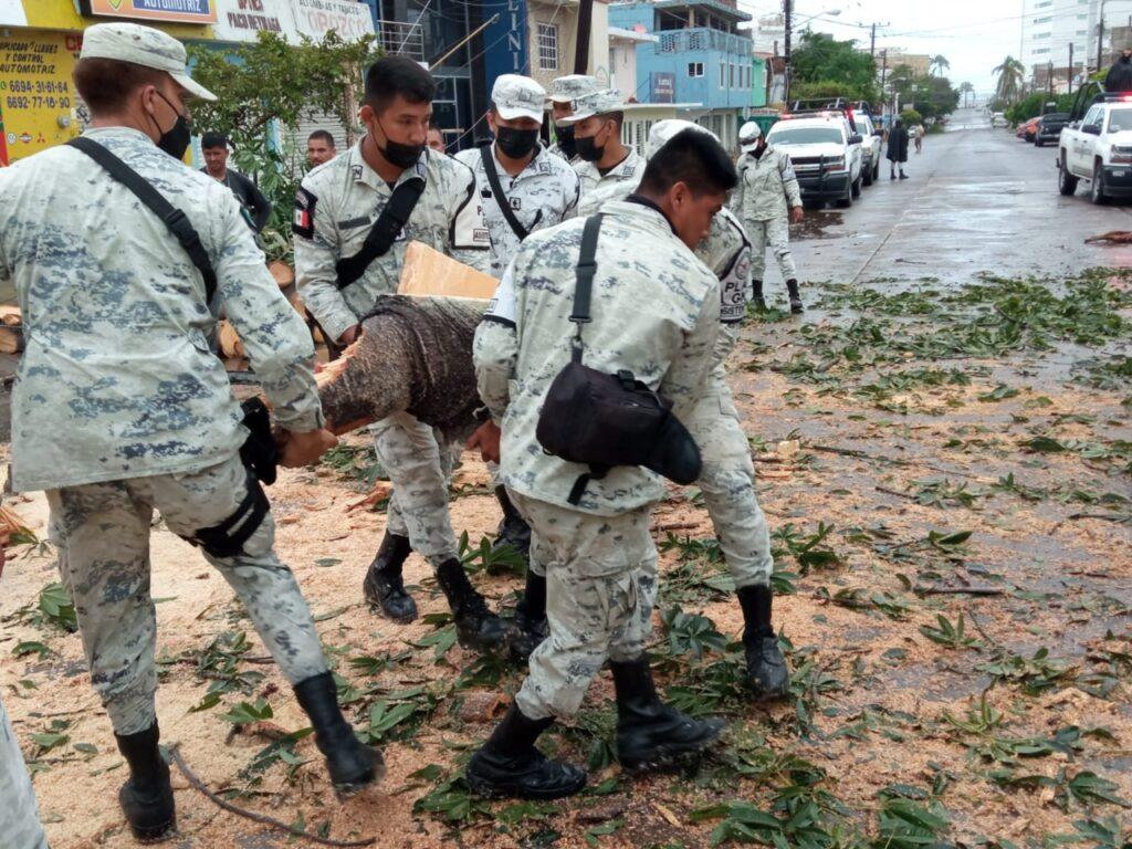 """GN activó """"Plan GN-A"""" en Mazatlán, Sinaloa, tras paso del Huracán Pamela"""